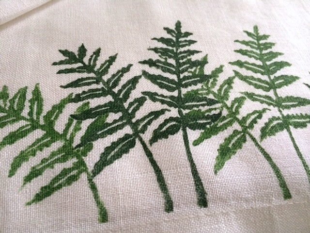 hand stamped ferns