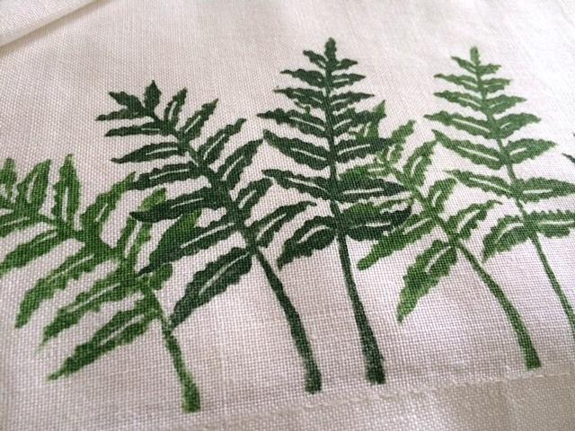 hand stamped ferns