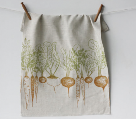 root vegetable tea towel by Jenna Rose - click for etsy listing