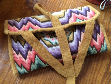 Wool needlepoint pocketbook.