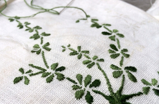 embroidery work in process