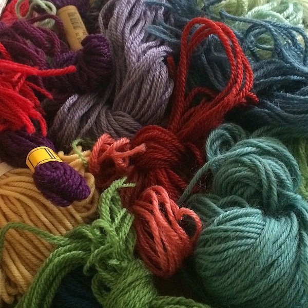 jumble of needlepoint yarn