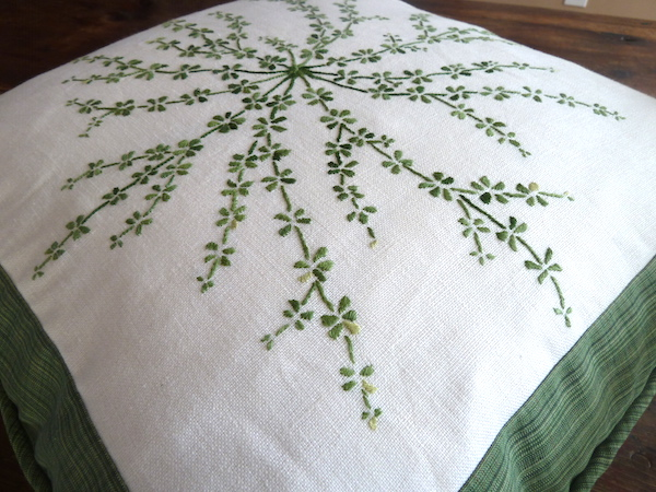 botanical embroidery on pillow