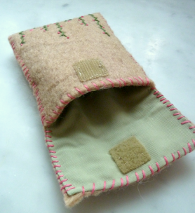 embroidered felt pouch back