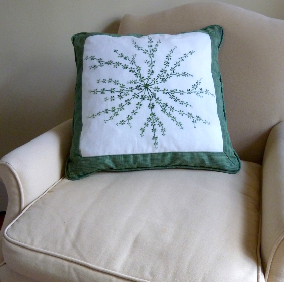 embroidered galium on pillow