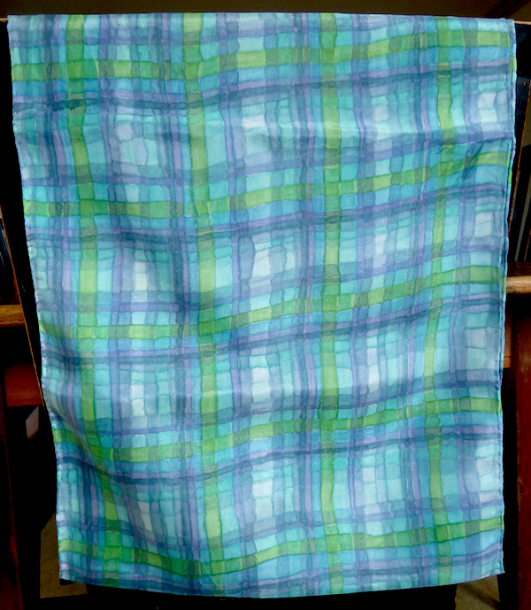 painted silk scarf blue green