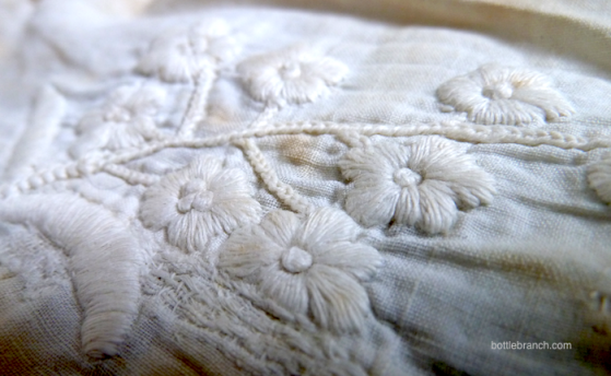 detail of whitework petticoat