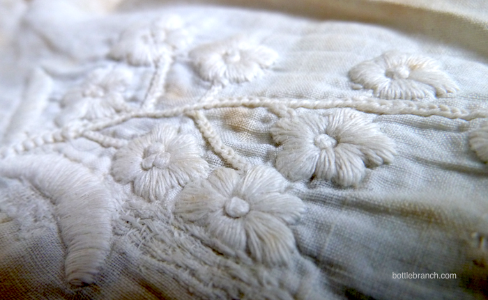 detail of whitework petticoat
