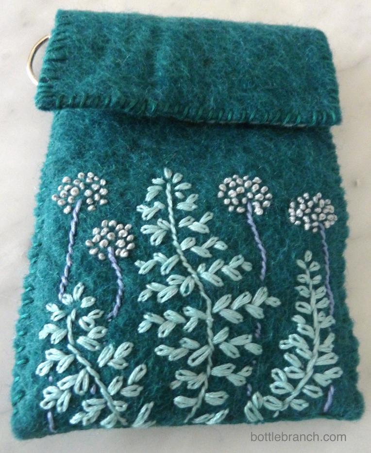 embroidered felt case