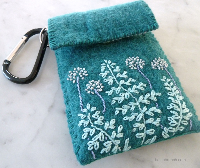embroidered phone case with carabiner