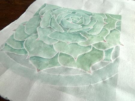white line print succulent
