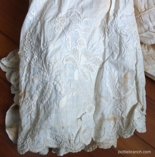 white work embroidery petticoat 1800s