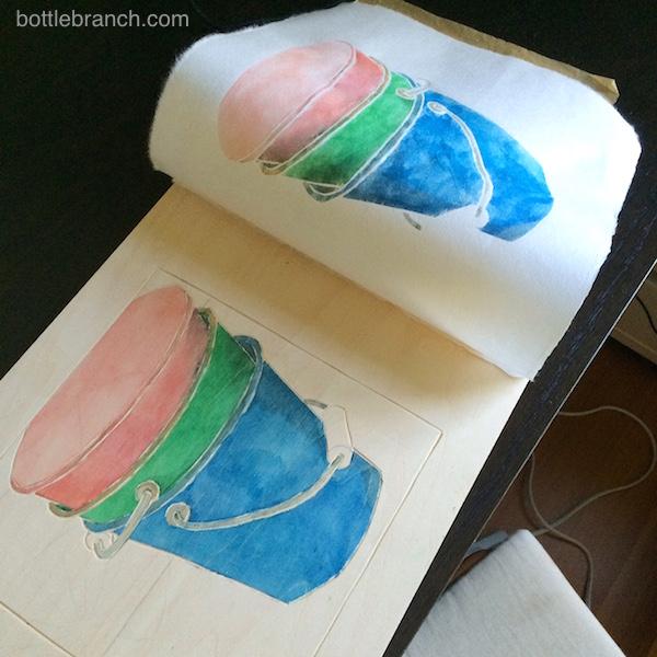 white line printing buckets