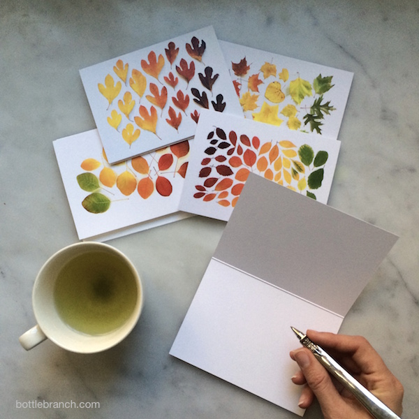 autumn leaf cards in use bottle branch blog