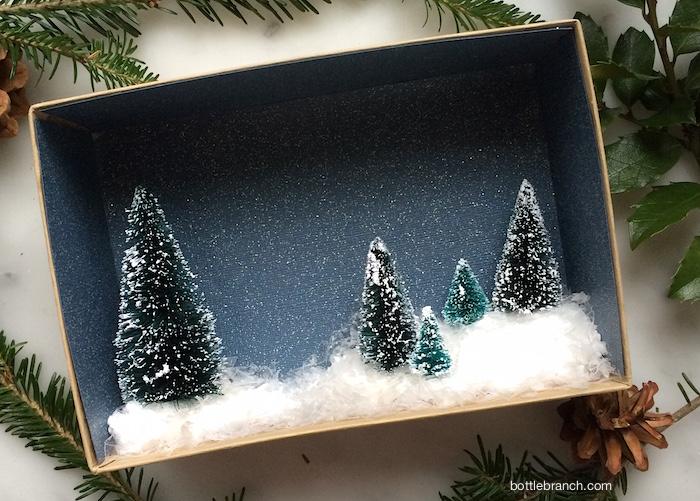 completed winter vignette bottle branch blog