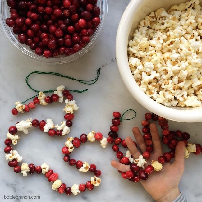 cranberry and popcorn garlands bottle branch blog