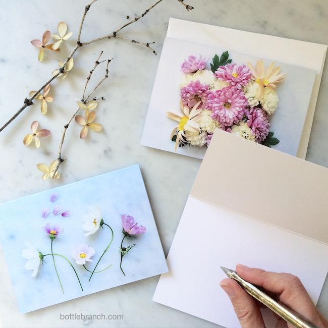 pink flower cards from bottle branch blog