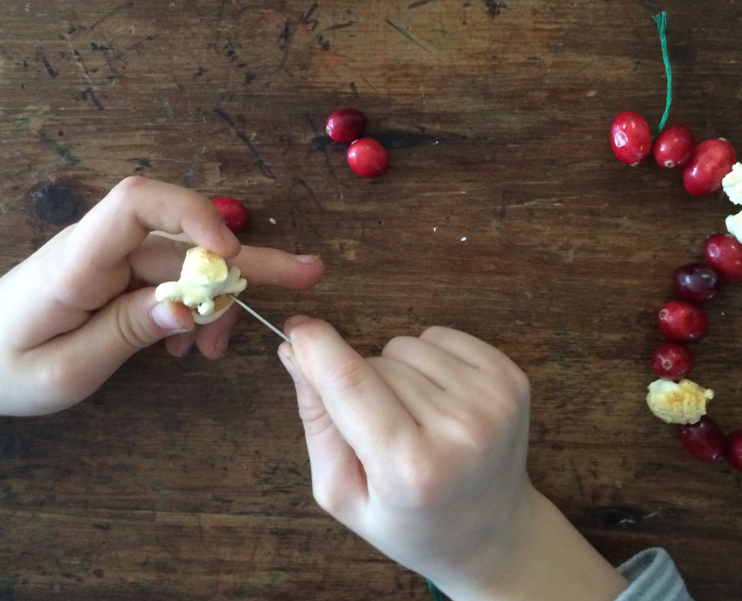 strining popcorn and cranberries