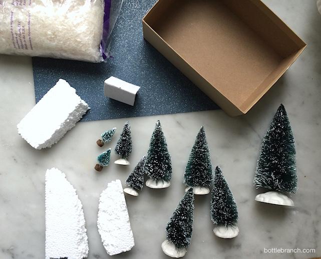 supplies for winter vignette bottle branch blog