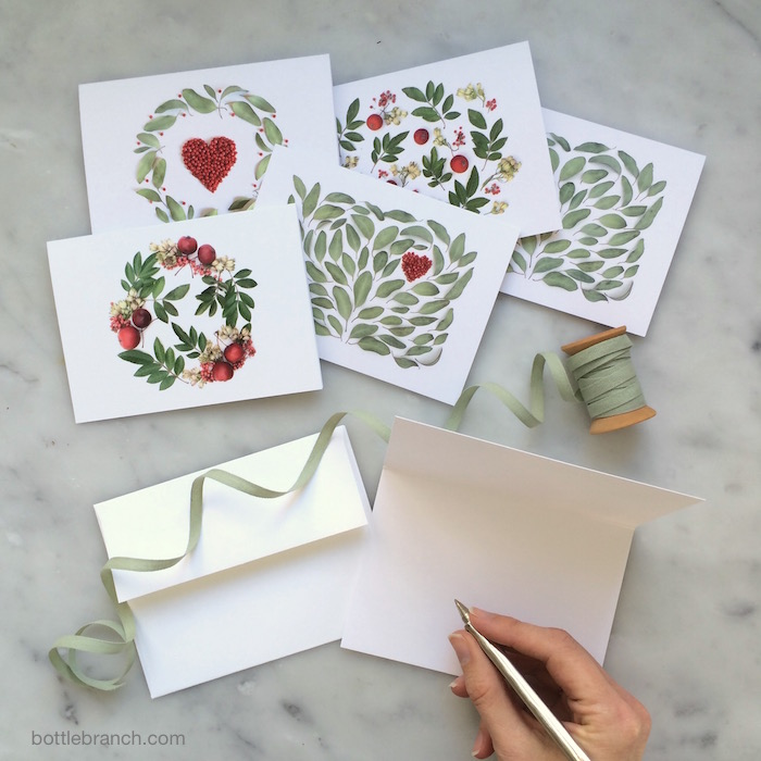 valentine's-ish cards bottle branch blog
