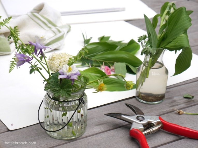 arranging flowers bottle branch blog