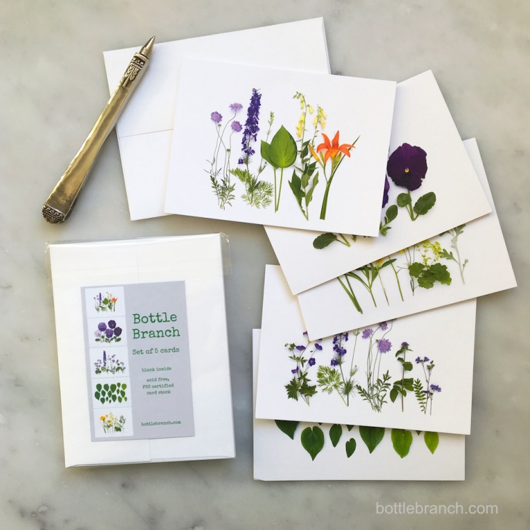 summer purple and orange flowers card set bottle branch blog