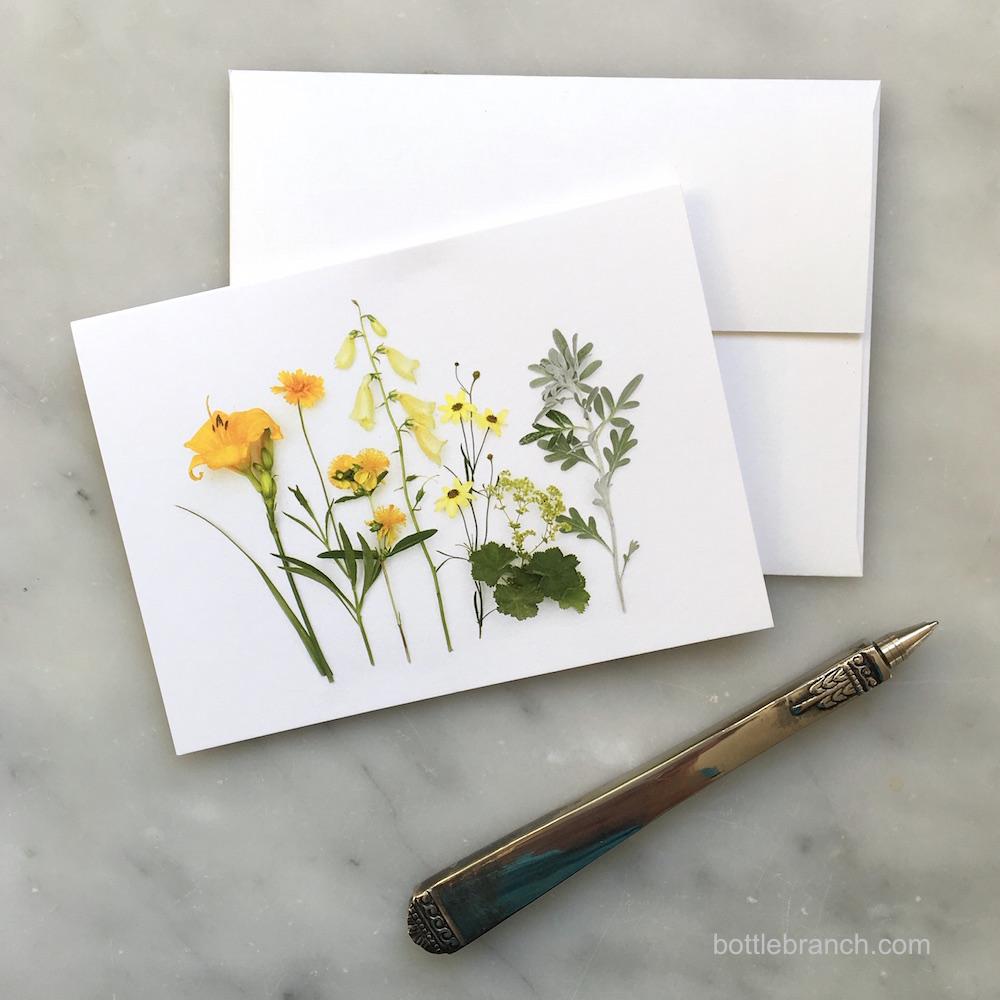yellow flowers card bottle branch blog