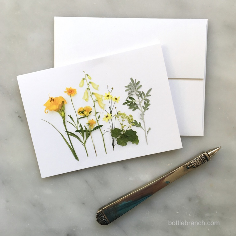 yellow flowers card bottle branch blog