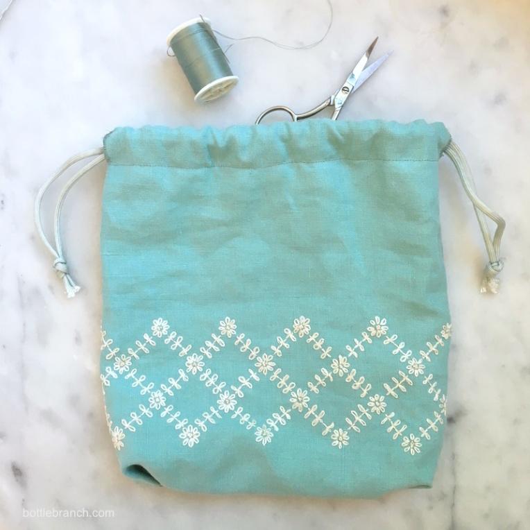 finished embroidery bag for bottle branch blog