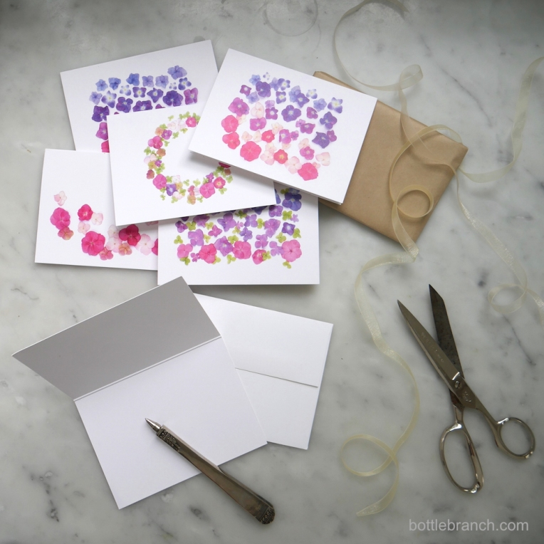 pink-hydrangea-party-cards-form-bottle-branch
