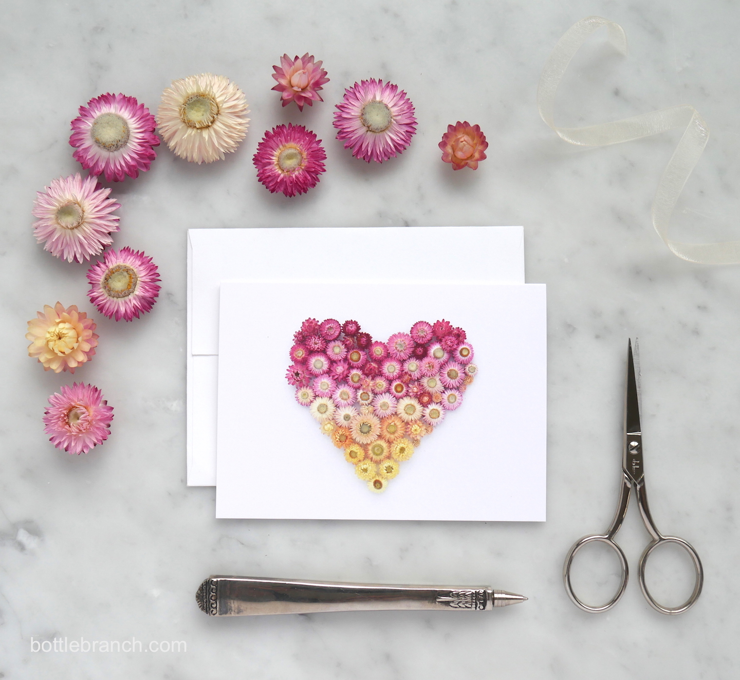 ombre-straw-flower-heart-with-straw-flowers-bottle-branch