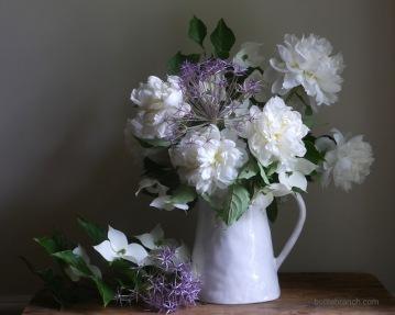 White peonies, Allium, Kousa dogwood