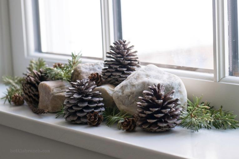 pinecones in window bottle branch blog