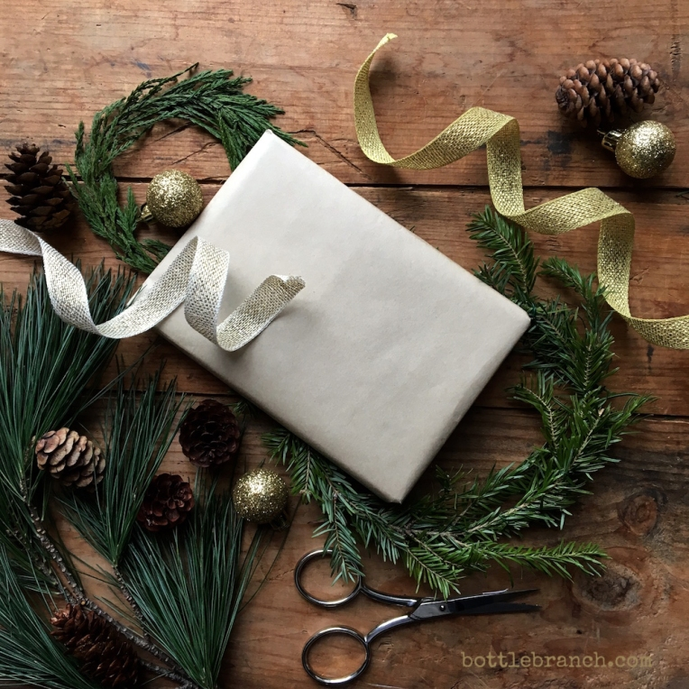 present wrapping bottle branch