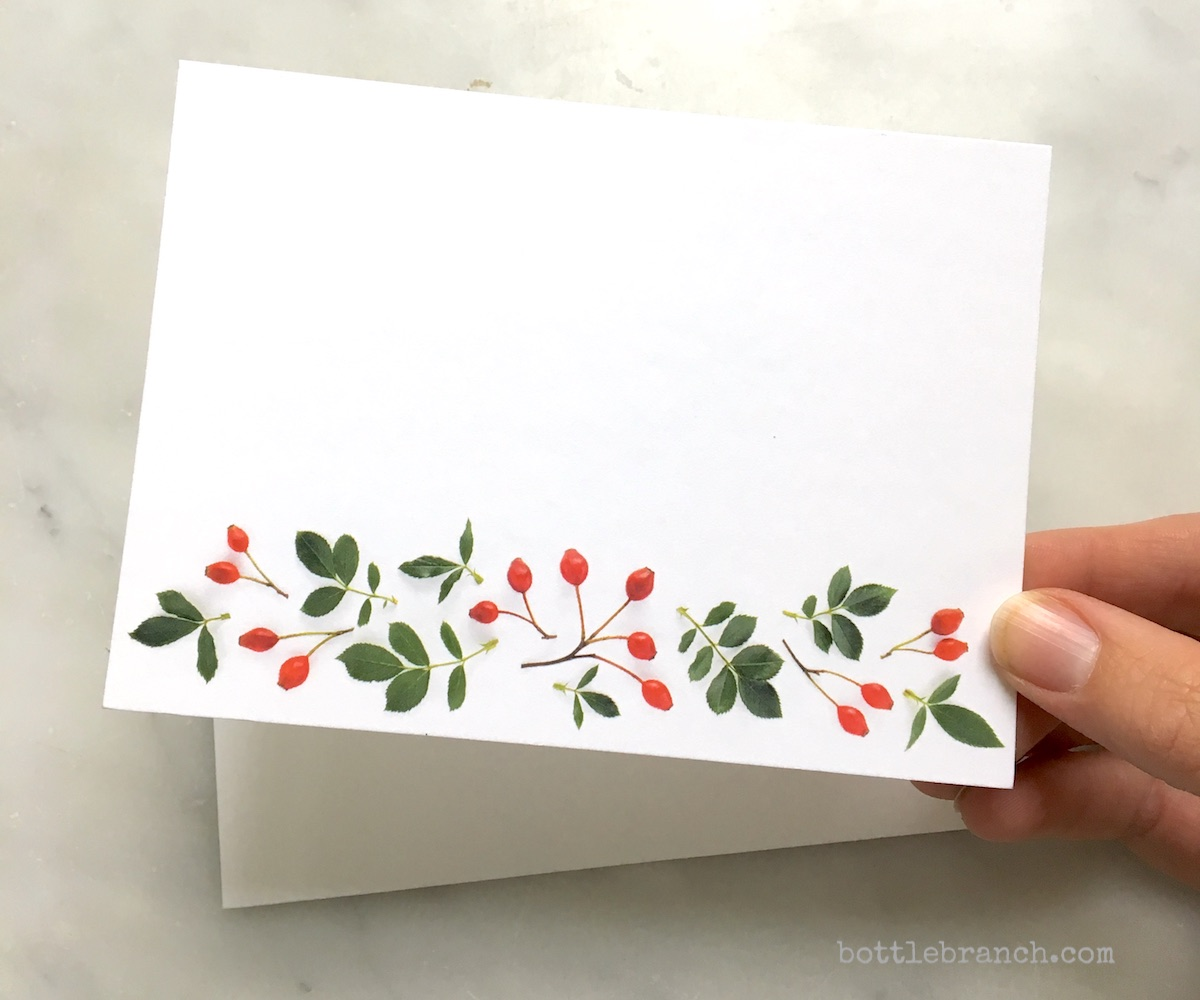 rose hips flourish card in hand bottle branch