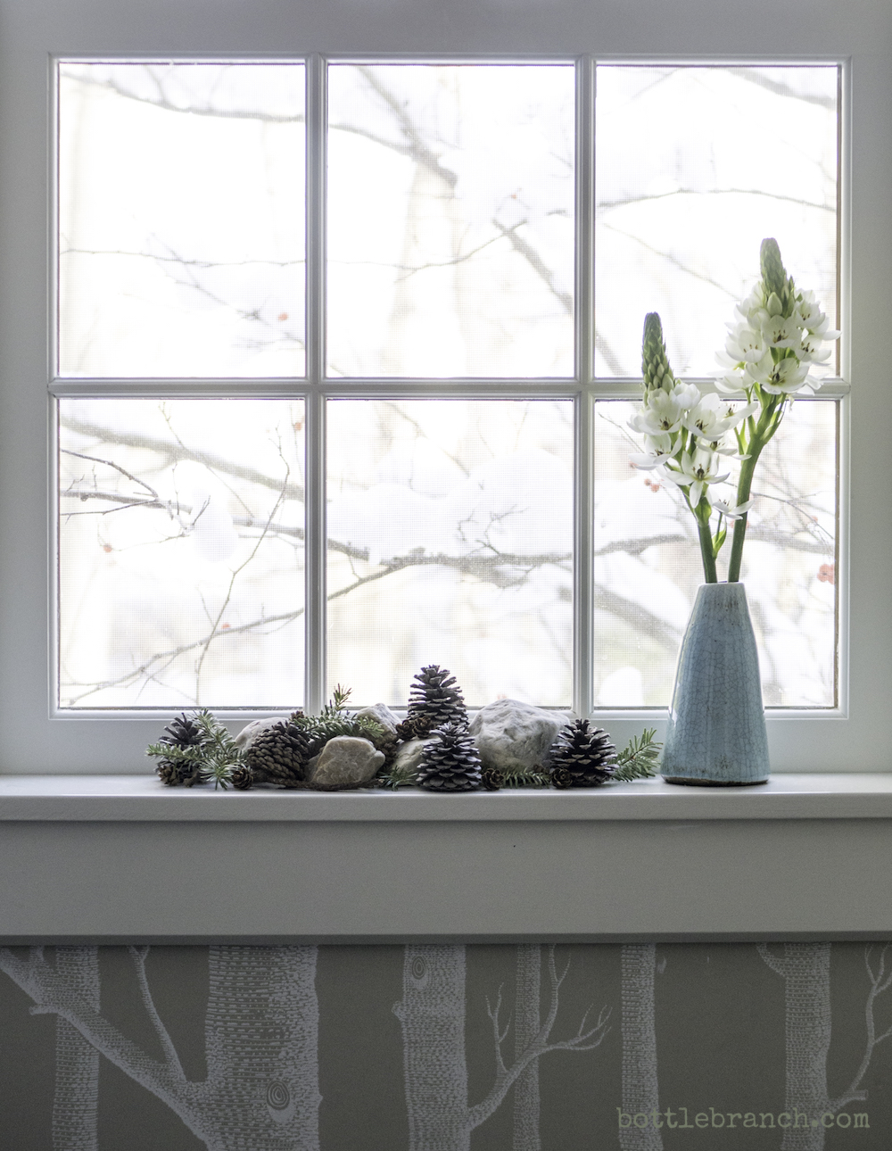 windowsill decorations bottle branch blog