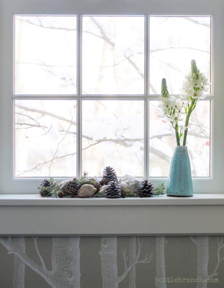 windowsill decorations bottle branch blog