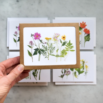 garden and wildflowers card set in hand front
