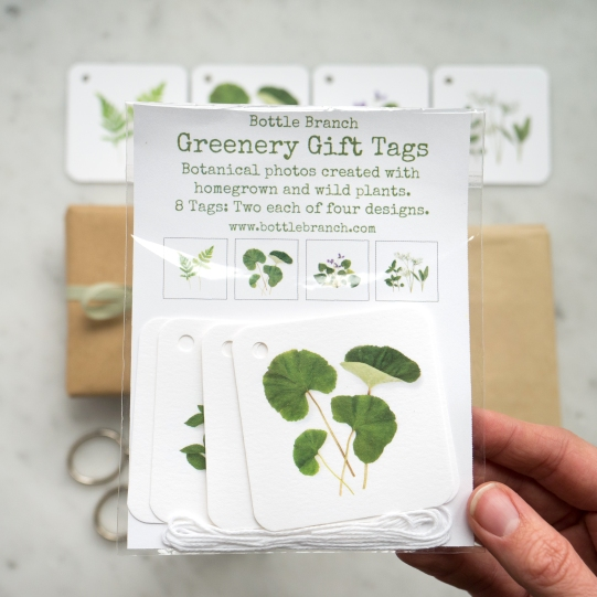 packaging in hand greenery gift tags set