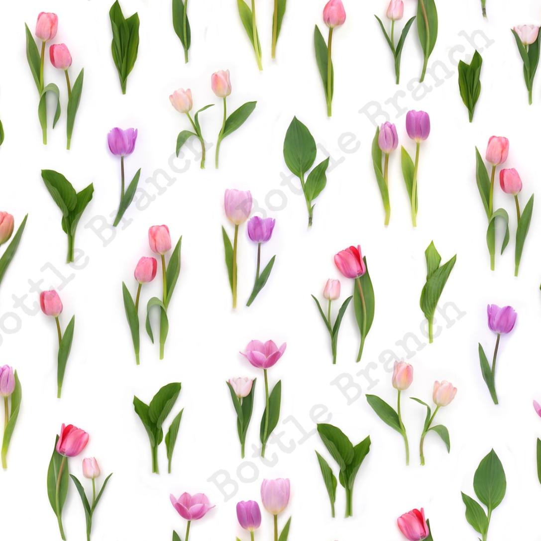 pink tulips pattern bottle branch