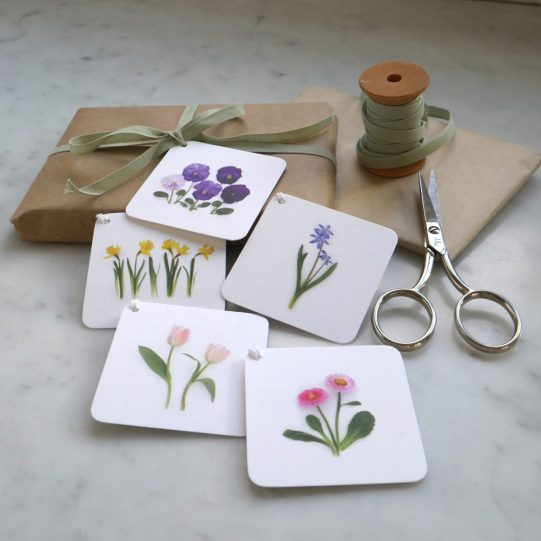 spring flowers gift tag set 2 bottle branch copy