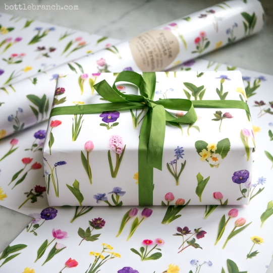 spring flowers wrapping paper by bottle branch
