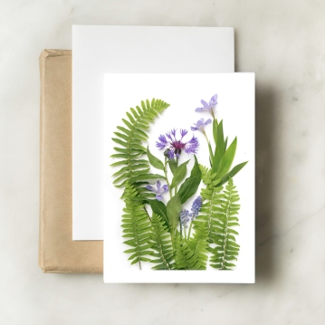 blue flowers and ferns card in frame