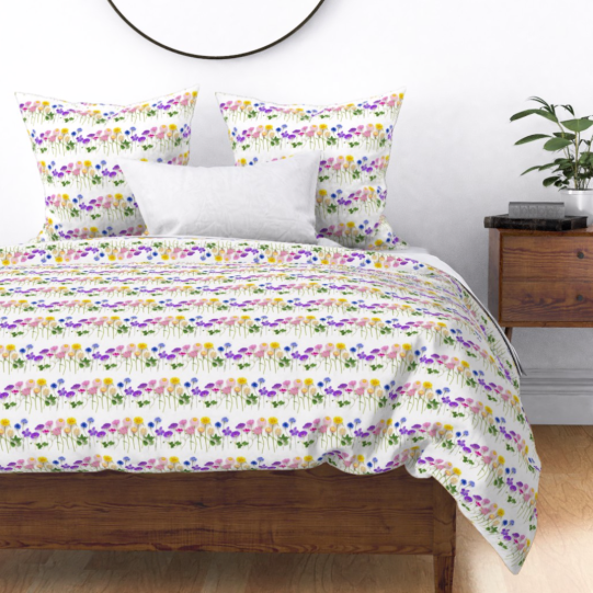 rainbow flowers duvet cover by bottlebranch on roostery